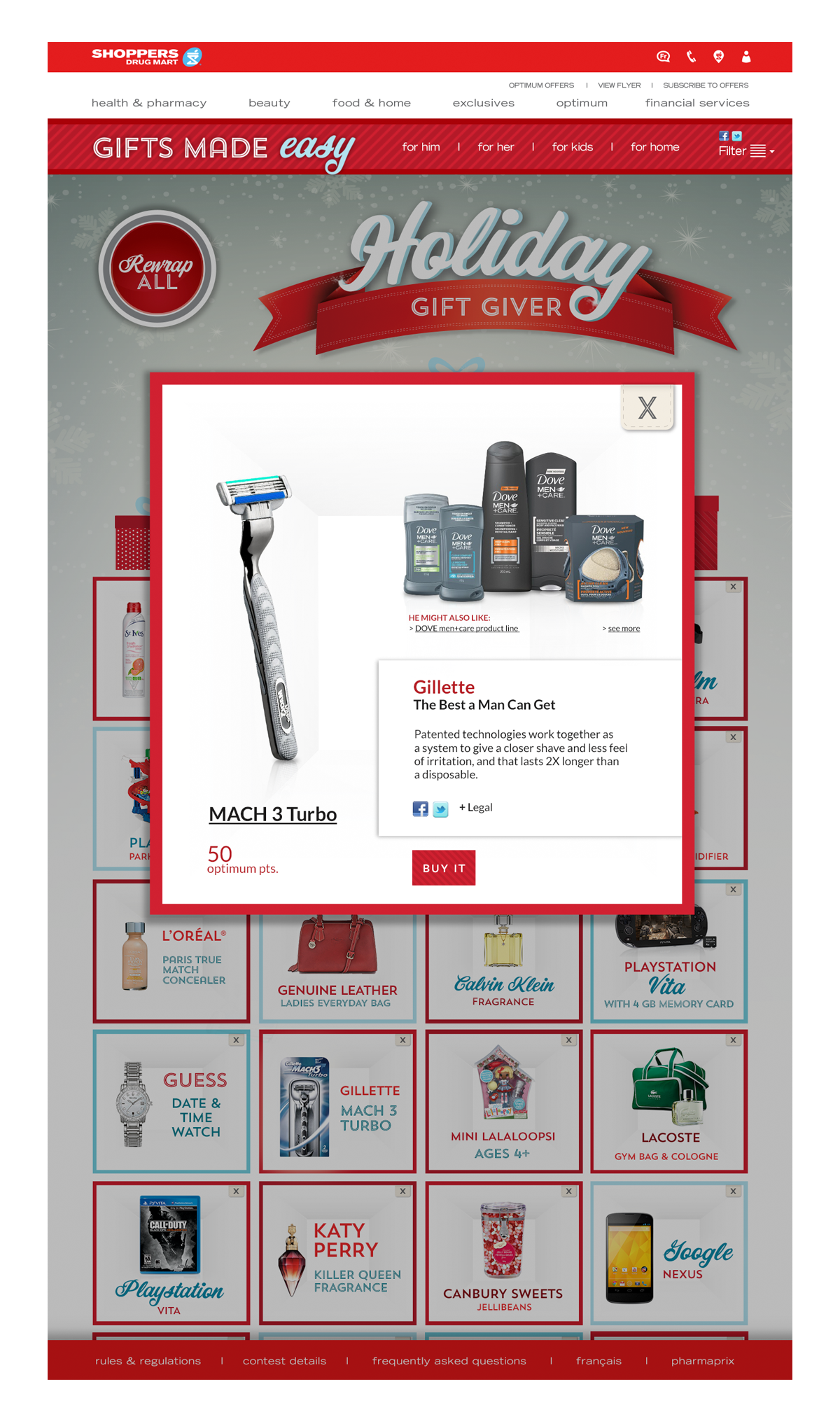 Shoppers Drug mart site with pop up window